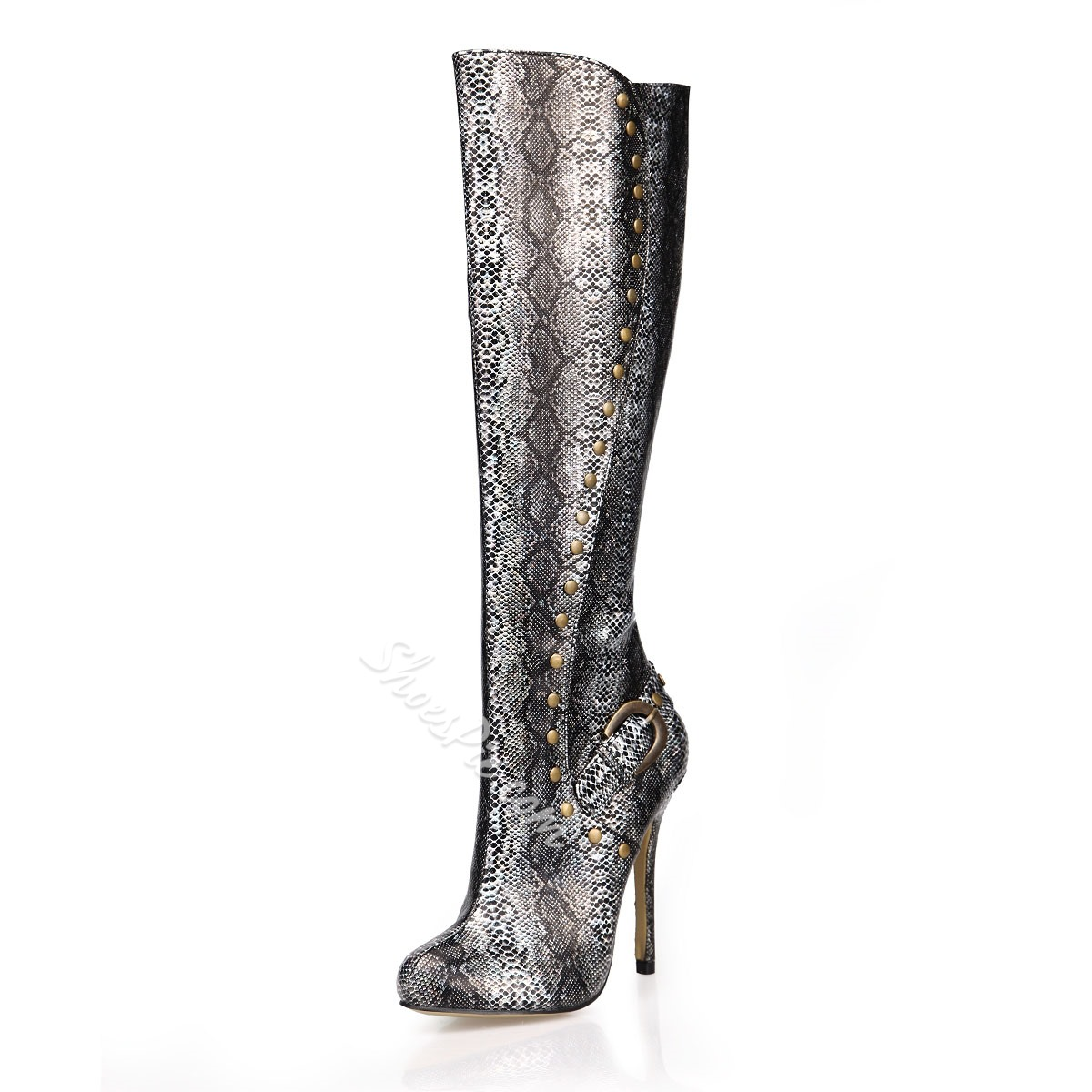 Shoespie Snakeskin Rivets Decoration Knee High Boots