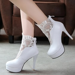 Shoespie Lace Inset Ankle Boots