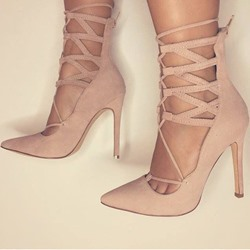Shoespie Nude Lace Up Back Zipper Heels shoespie