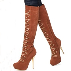 Shoespie Chic Brown Lace Up Decoration Knee High Boots