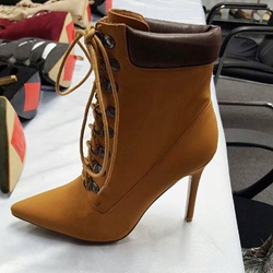 Shoespie Yellow Lace up Pointed toe Ankle Boots