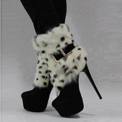 New Arrival Black Suede Leopard Print Rabbit Hair Thic Platform Ankle Boots