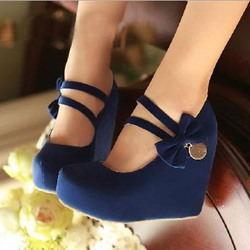 Sweet Girl Nubuck Amazing Bowtie Wedge Heels