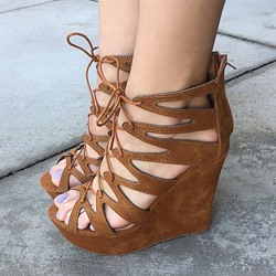 Shoespie Vintage Brown Lace Up Back Zipper Wedge Heel Sandals