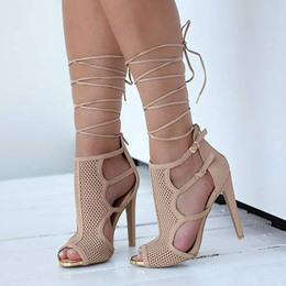 Shoespie Elegant Nude Buckles Lace Up Dress Sandals