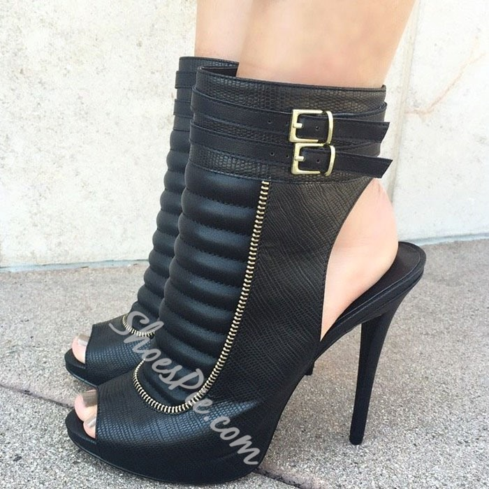 Shoespie Stylish Black Pee Toe Slingback Buckles Ankle Boots