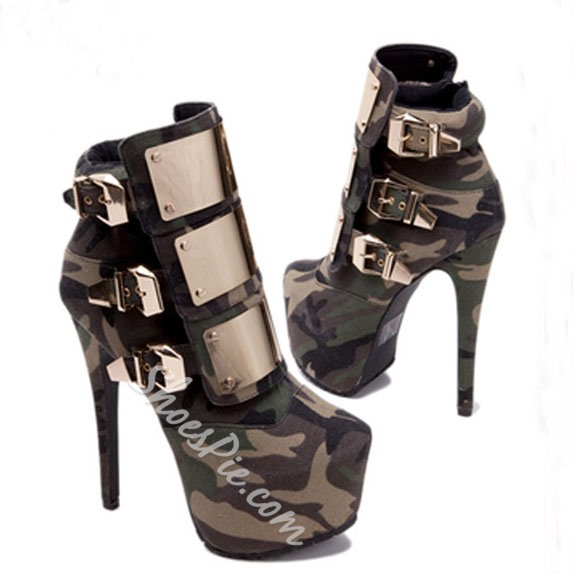 Shoespie Buckles Platform Stiletto Heel Ankle Boots