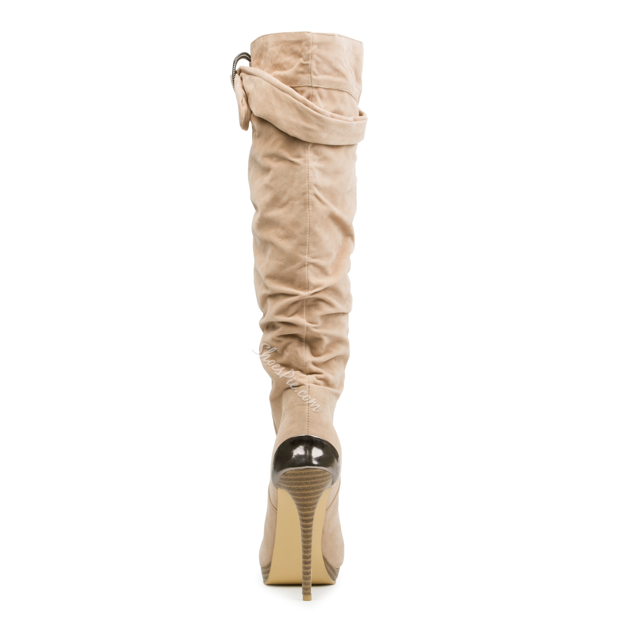 Shoespie Classy Beige Stiletto Heel Knee High Boots