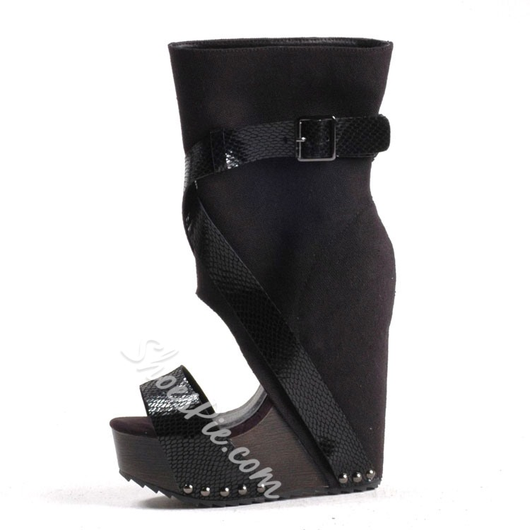 Shoespie Unique Wedge Heel Ankle Boots