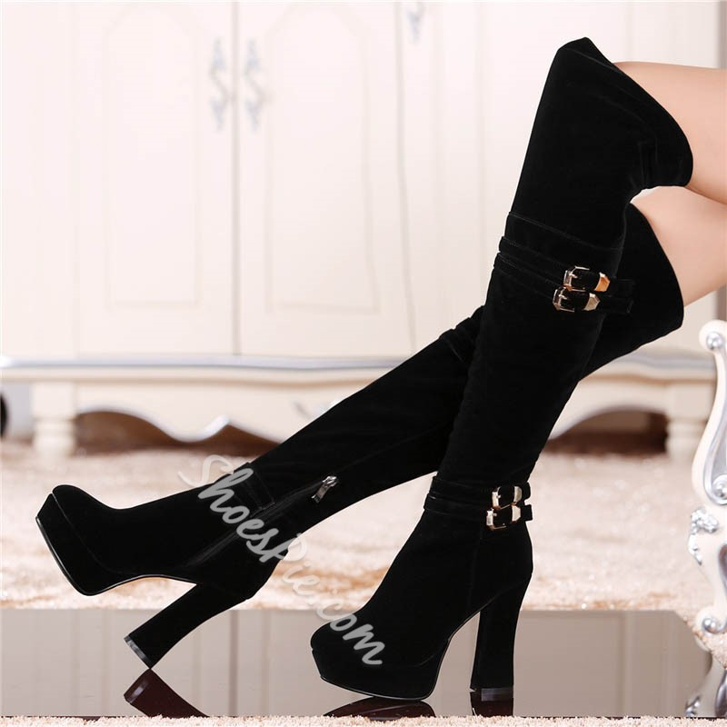 Shoespie Classy Buckles Platform Chunky Heel Knee High Boots