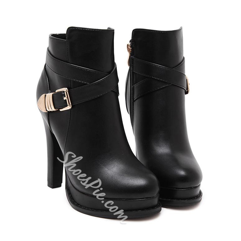 Shoespie Black Buckles Platform Ankle Boots