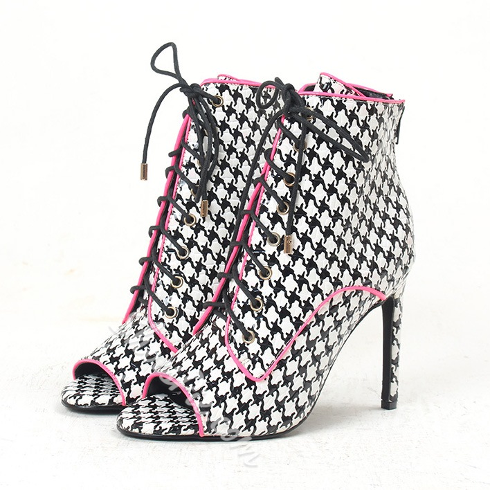 Shoespie Houndstooth Lace Up Peep Toe Ankle Boots