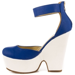 Shoespie Royal Blue Round Toe Ankle Wrap Wedge Heel Pumps