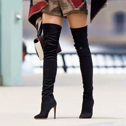 Shoespie Black Suede Stiletto Heel Thigh High Boots