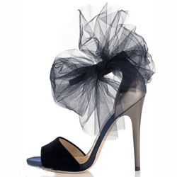 Shoespie Stiletto Heel Flower Appliqued Dress Sandals