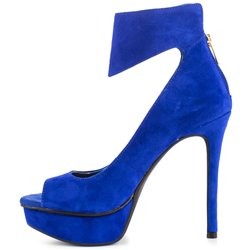 Shoespie Elegant Blue Peep Toe Ankle Wrap Platform Heels shoespie