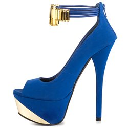 Shoespie Royal Blue Peep Toe Ankle Wrap Platform High Heel Pumps