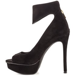 Shoespie Elegant Black Peep Toe Ankle Wrap Platform Heels shoespie