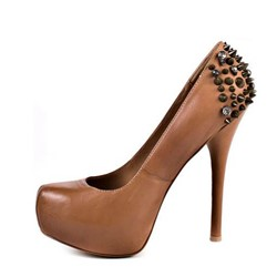 Shoespie Camel Rivets Platform High Heel Pumps