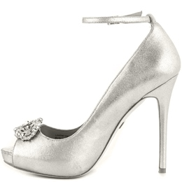 Shoespie Sliver Rhinestone Peep Toe Ankle Wrap Stiletto Heels