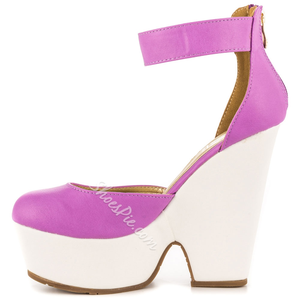Shoespie Purple Round Toe Ankle Wrap Wedge Heel Pumps