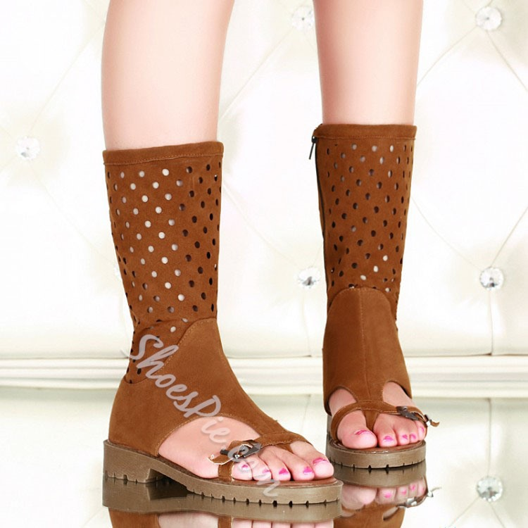 Shoespie Dots Cutout Thong Gladiator Sandal Boots
