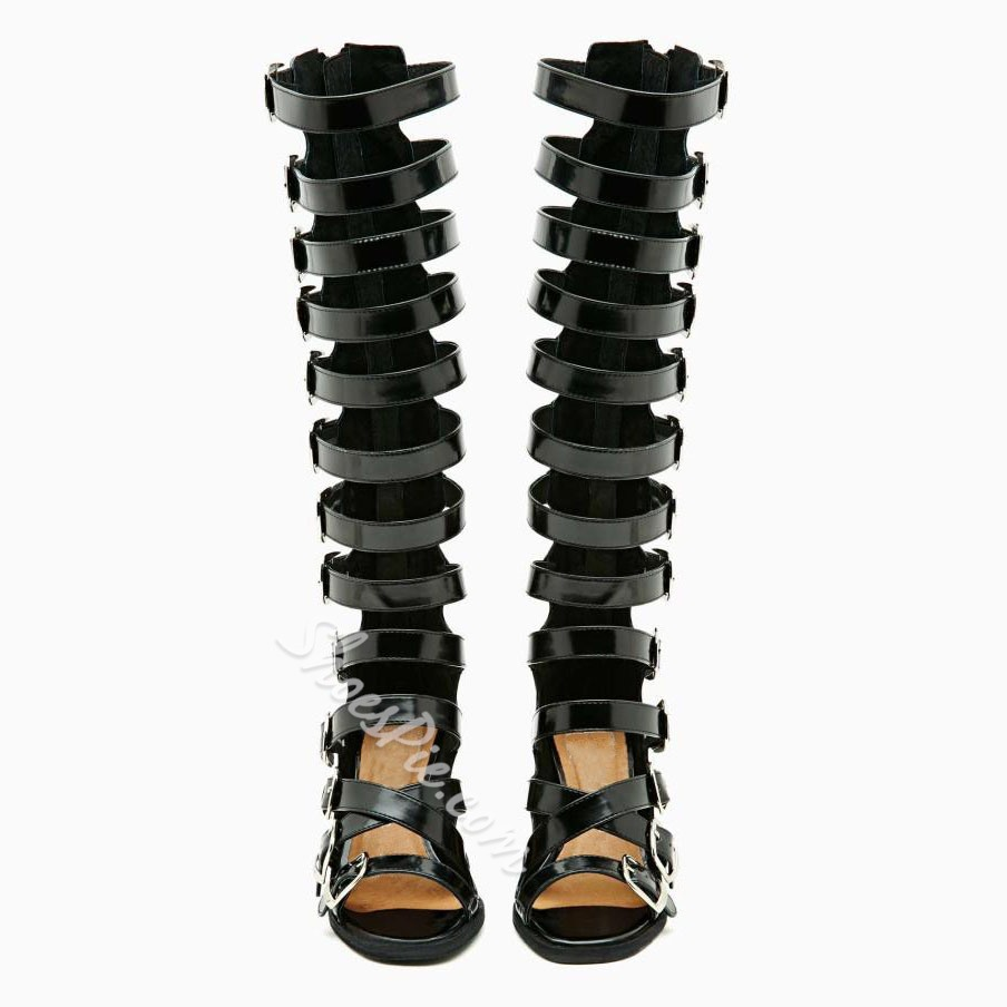 Shoespie Buckled Roman Gladiator Sandal Boots