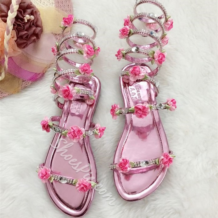 Shoespie Flower Appliqued Rhinestone Gladiator Sandals