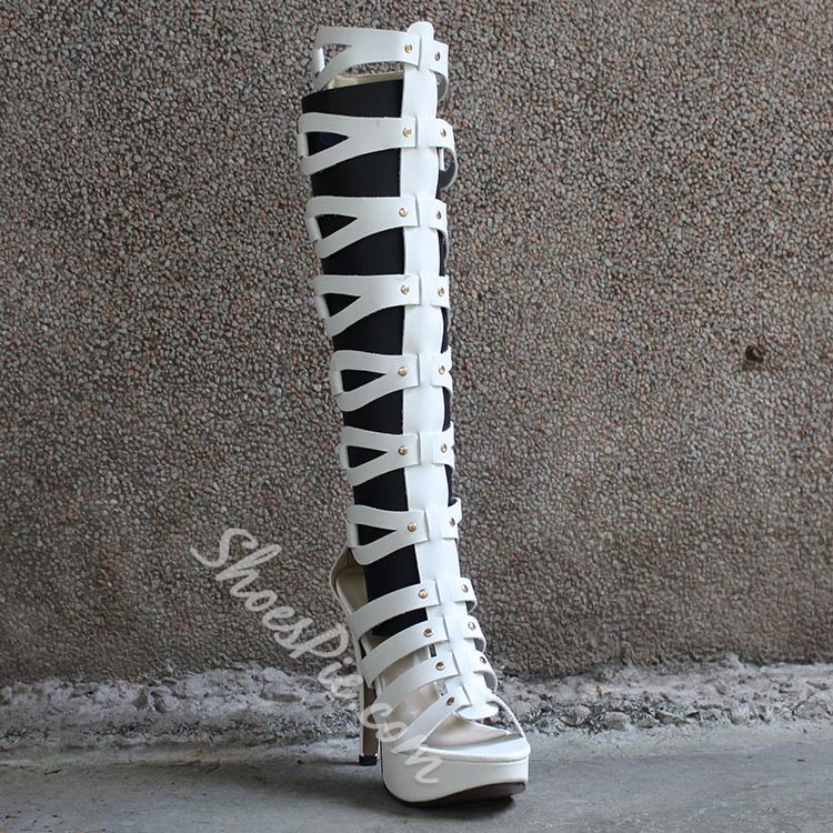Shoespie Androgynous Designs Cut Out Knee high Boots
