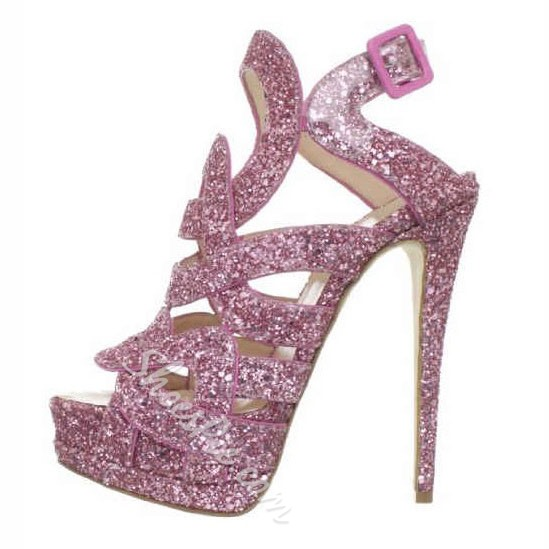 Shoespie Lovely Pink Sequined Platform Peep Toe High Heel Dress Sandals