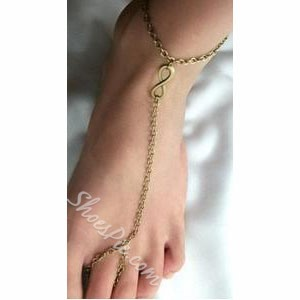 Concise Bronze Color Chain Anklet
