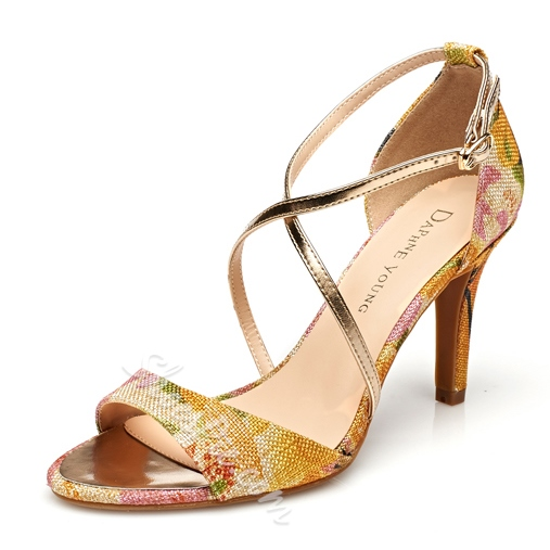 Shoespie Flower Print Cross Strap Sandals