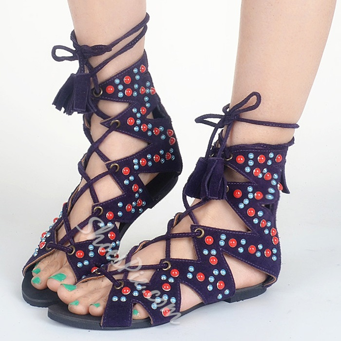 Shoespie Special Lace Up Flat Sandals