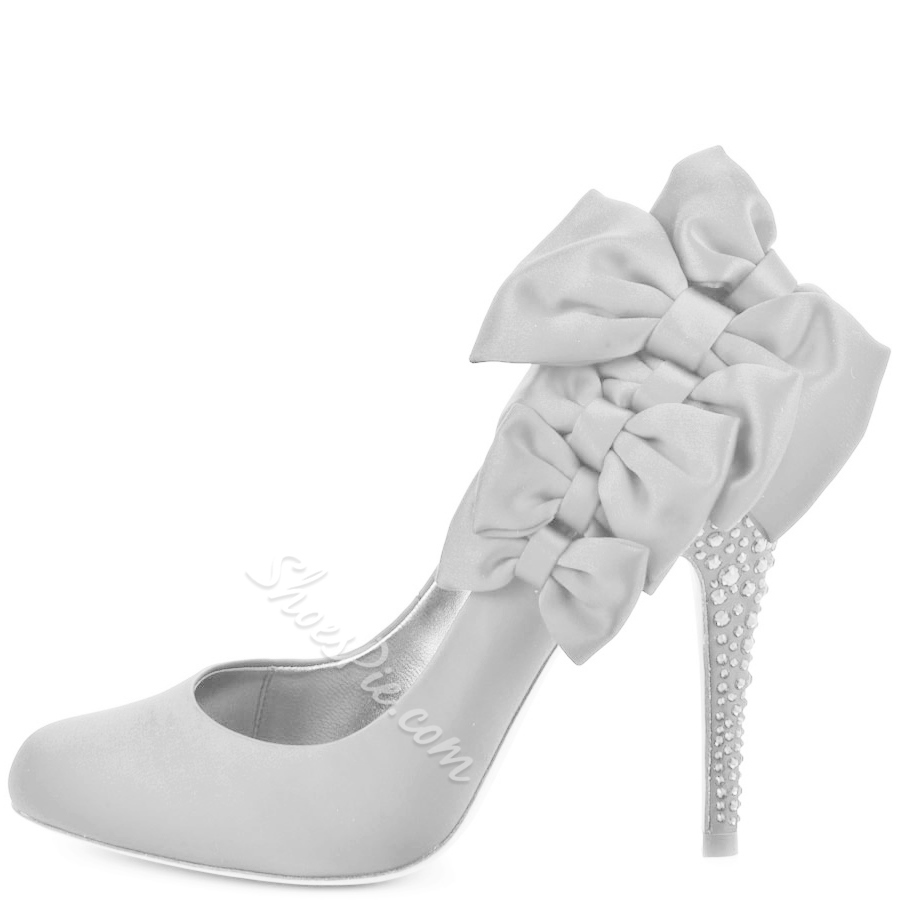 Shoespie Luxurious White Bowties Rhinestone Stiletto Heels