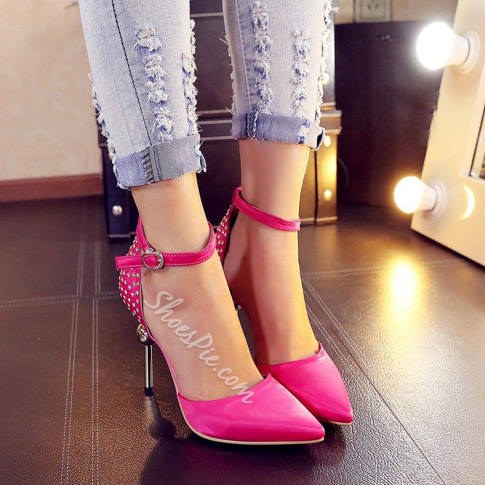 Shoespie Pointed Toe Ankle Strap Stiletto Heels