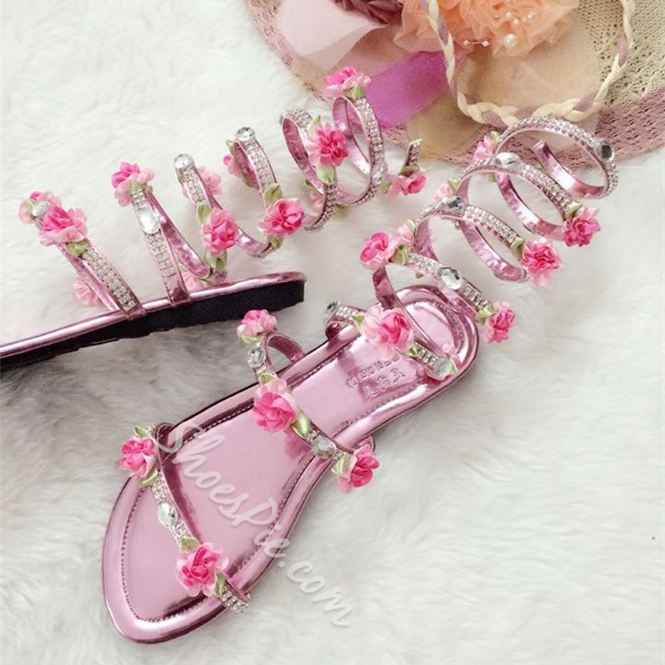 82b74f46578 Shoespie Flower Appliqued Rhinestone Gladiator Sandals- Shoespie.com