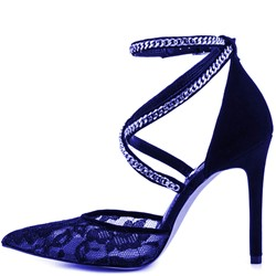 Shoespie Luxurious Blue Lace Chain Stiletto Heels