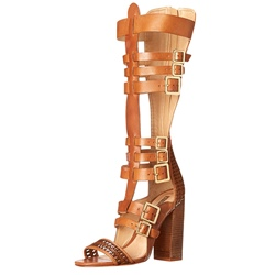 Shoespie Buckles Chunky Heel Gladiator Sandals
