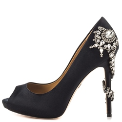 Shoespie Luxurious Black Rhinestone Appliqued Peep Toe Pumps