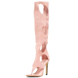 Shoespie Pink Suede Cutout Thong Toe Sandal Boots