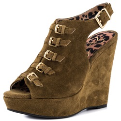 Shoespie Vintage Army Green Buckles Wedge Heel Dress Sandals