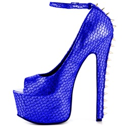 Shoespie Royal Blue Peep Toe Back Rivets Ankle Wrap Pumps