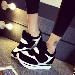 Shoespie Block Color Velcro Platform Sneakers