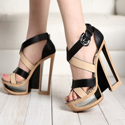 Shoespie Contrast Color Hollow Heel Platform Sandals