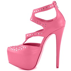 Shoespie Pink Metallic Dressy Platform High Heel Pumps