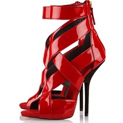 Shoespie Sexy Red Back Zipper Stiletto Heel Party Dress Sandals