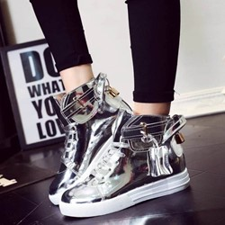 Shoespie Patent LHigh Upper Sneakers