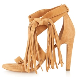 Shoespie Yellow Nubuck Side Lace Up Tassels Dress Sandals