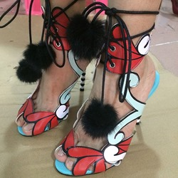 Shoespie Front Lace Up Painted Heel Sandals