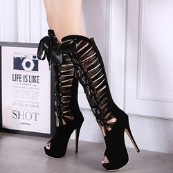 Shoespie Black Peep Toe Ribbon Strapped Knee High Boots